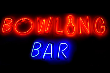 Bowling bar neon sign