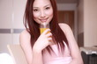 young asian sex girl with orange juice