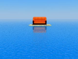 sofa in the sea