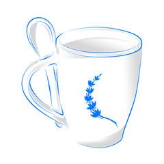 голубая кружка кофе с ложкой на белом фоне