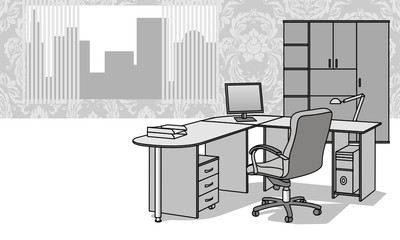 Interior with office furniture
