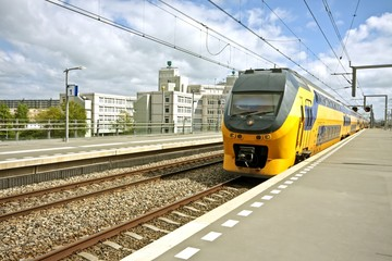 Train arriving at Bijlmerstation in Amsterdam the Netherlands