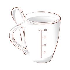 градуированная чашка кофе с ложкой на белом фоне