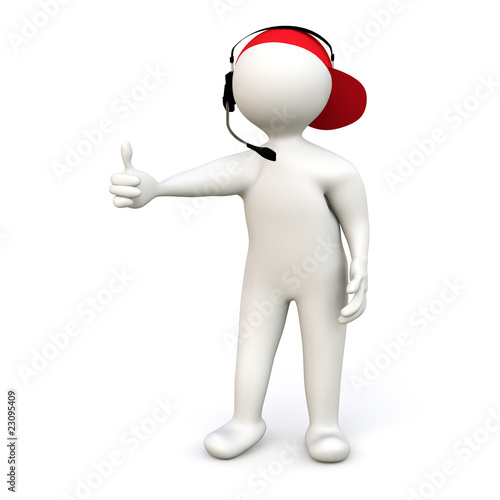 3D Man with Headset