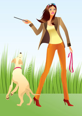 Sexy woman with a dog in the park - vector illustration