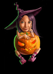Pretty funny witch with pumpkin