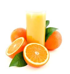 Ripe oranges and juice.