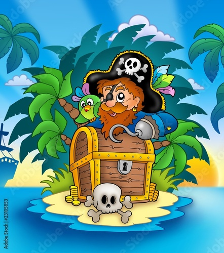 Foto op Aluminium Piraten Small island with pirate and chest