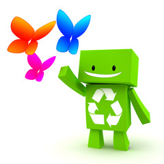 3D green character with a recycle symbol