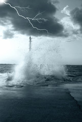 lightning and high waves in the stormy sea