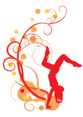 ornate vector image with dancing girl