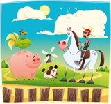 Funny farmer with animals Cartoon and vector illustration