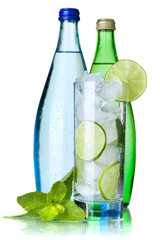 Glass of water with lime, ice and mint