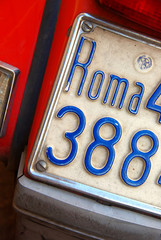 Scooter licence plate from Roma