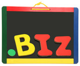 Top Level Domain Dot BIZ On Chalkboard