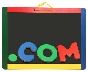 Top Level Domain Dot COM On Chalkboard