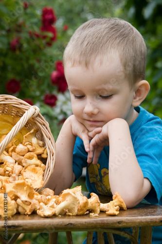 Boy with mushrooms