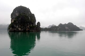 halong bay in rain and fog