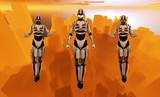 3 cyborgs hover abaove futuristic city poster
