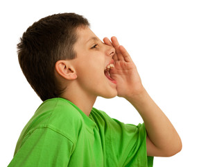 Shouting boy in green
