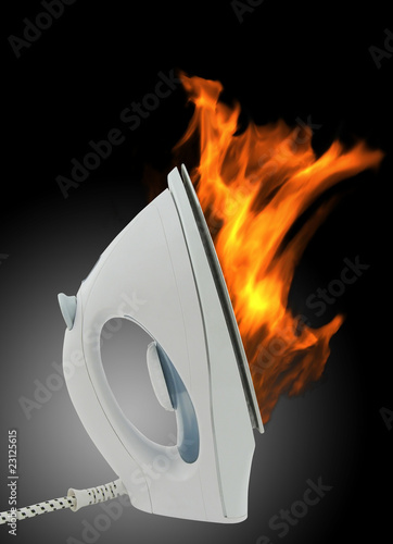 Electric iron in fire