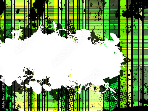Checkered Green Grunge Background.