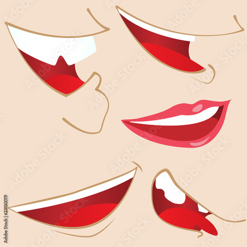 Set of 5 cartoon mouths.