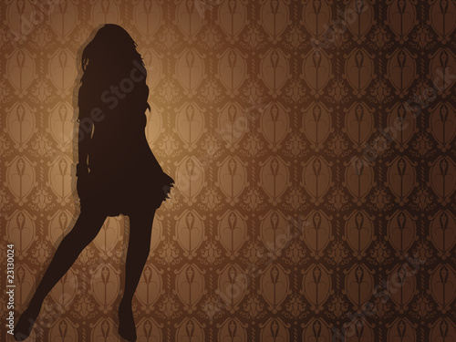 Sexy girl against damask background.