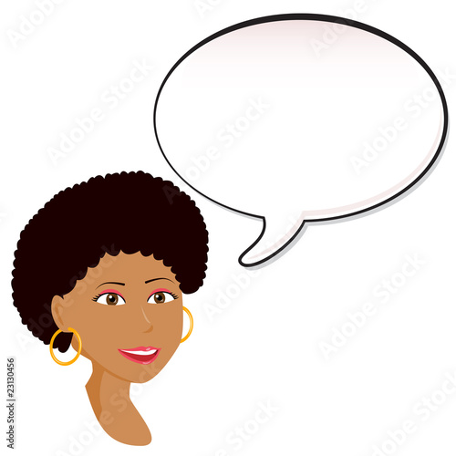 Black Woman announcement with speech bubble.
