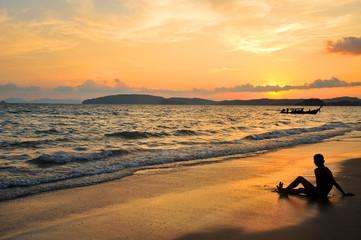 Sunset at Ao Nang bay, south of Thailand