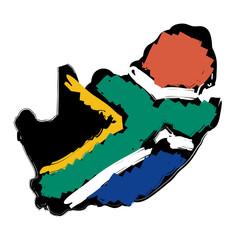 schizzo mappa bandiera Sud Africa