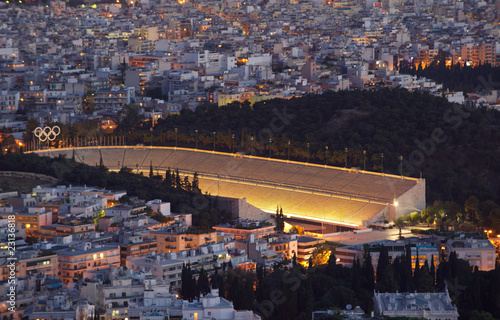 The panathenaic stadium at night, in Athens, Greece