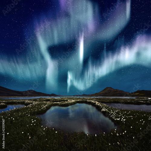 Tuinposter Vulkaan Aurora Borealis