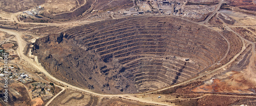 Leinwandbild Motiv Aerial view of enormous copper mine at palabora, south africa