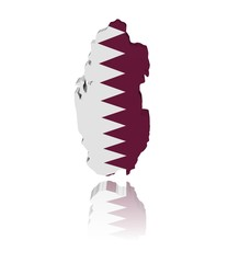Qatar map flag 3d render with reflection illustration