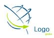 Logo globe flèche bleu vert