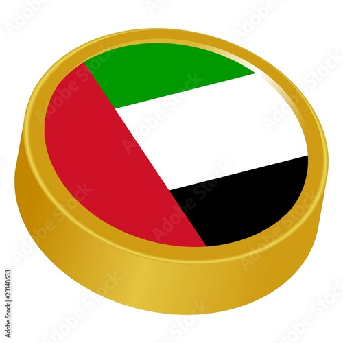 3d button in colors of United Arab Emirates