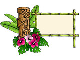 Colorful, detailed hawaiian banner with tiki statue
