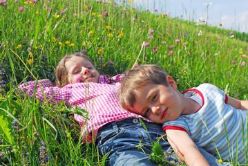 Kinder auf einer Almwiese