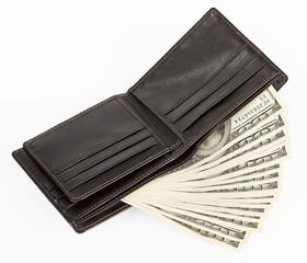 US dollars in a black purse