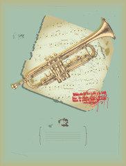 trumpet -drawing- music theme
