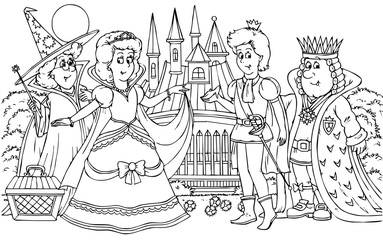 prince, princess, king and fairy