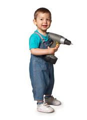 Smiling boy builder