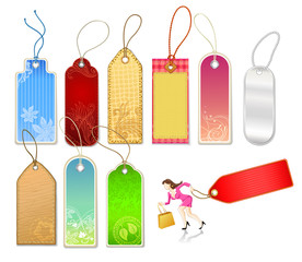 Various Tags and Businesswoman Figure
