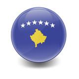 Esfera brillante con bandera Kosovo poster