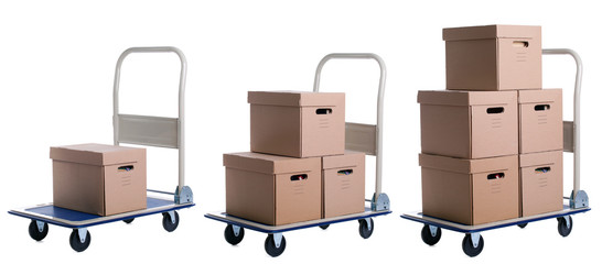 transport carts with carton boxes