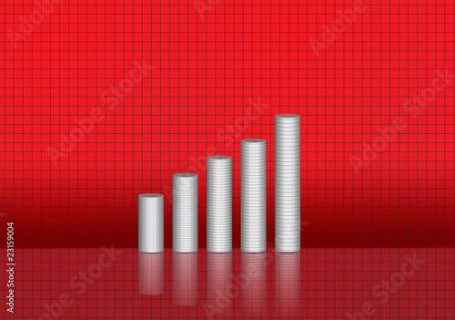 reflective bar graph on red