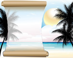 Pergamena su Sfondo Tropicale-Tropical Seascape Background