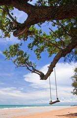 Wood swing on beach, east of Thailand