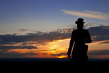 Statue of Gen. Warren at Gettysburg at Sunset